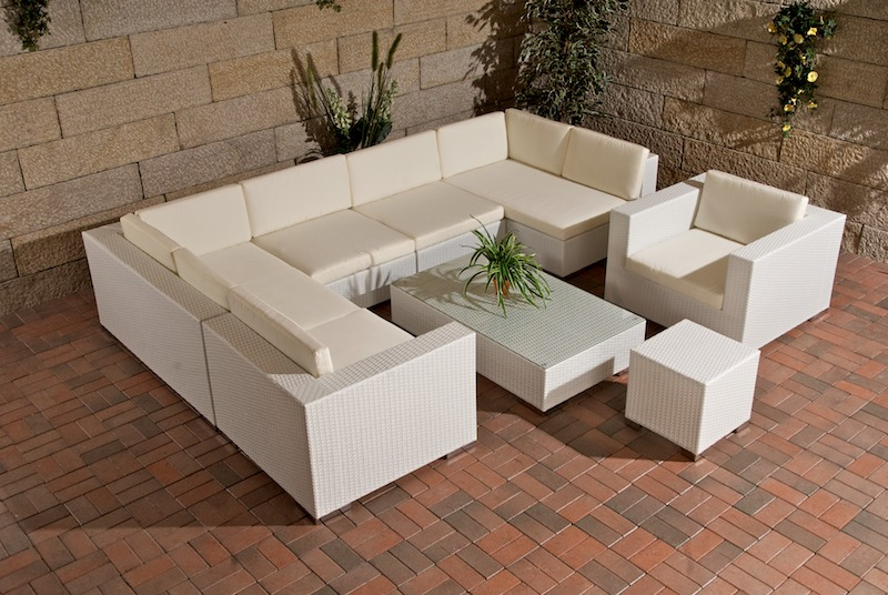 sl gartengarnitur barcelona aus polyrattan weiss rattan gartenm bel retourware ebay. Black Bedroom Furniture Sets. Home Design Ideas