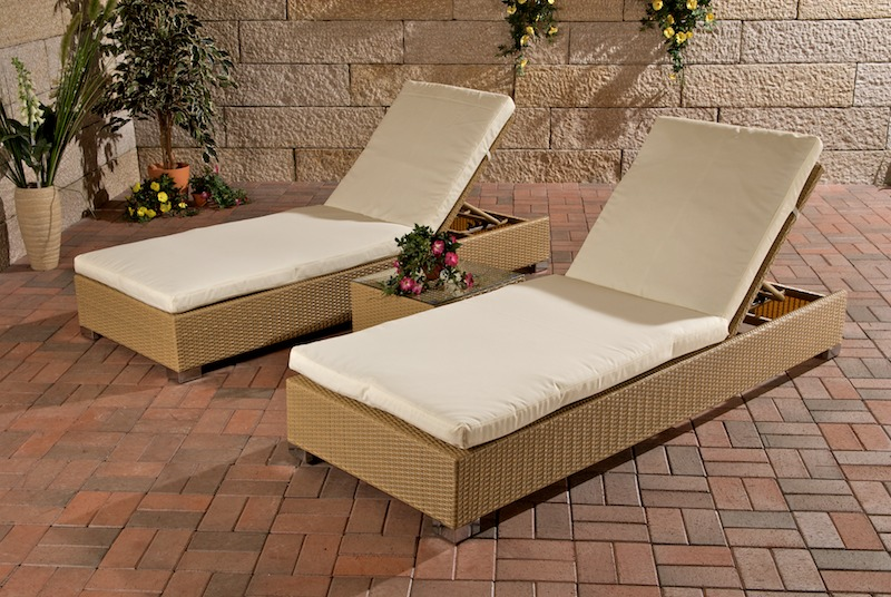 2x sonnenliege sonnenliegen polyrattan tisch sand neu ebay. Black Bedroom Furniture Sets. Home Design Ideas